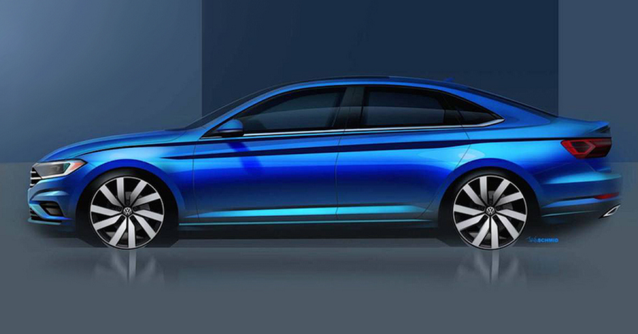 Presented the official photo of the new Volkswagen Jetta before the presentation in Detroit